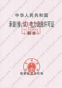 Permit for Electric Power Facilities Installation, Maintenance and Test